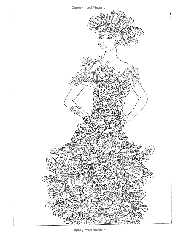 Dover Publications Creative Haven Flower Fashion Fantasies Coloring ...