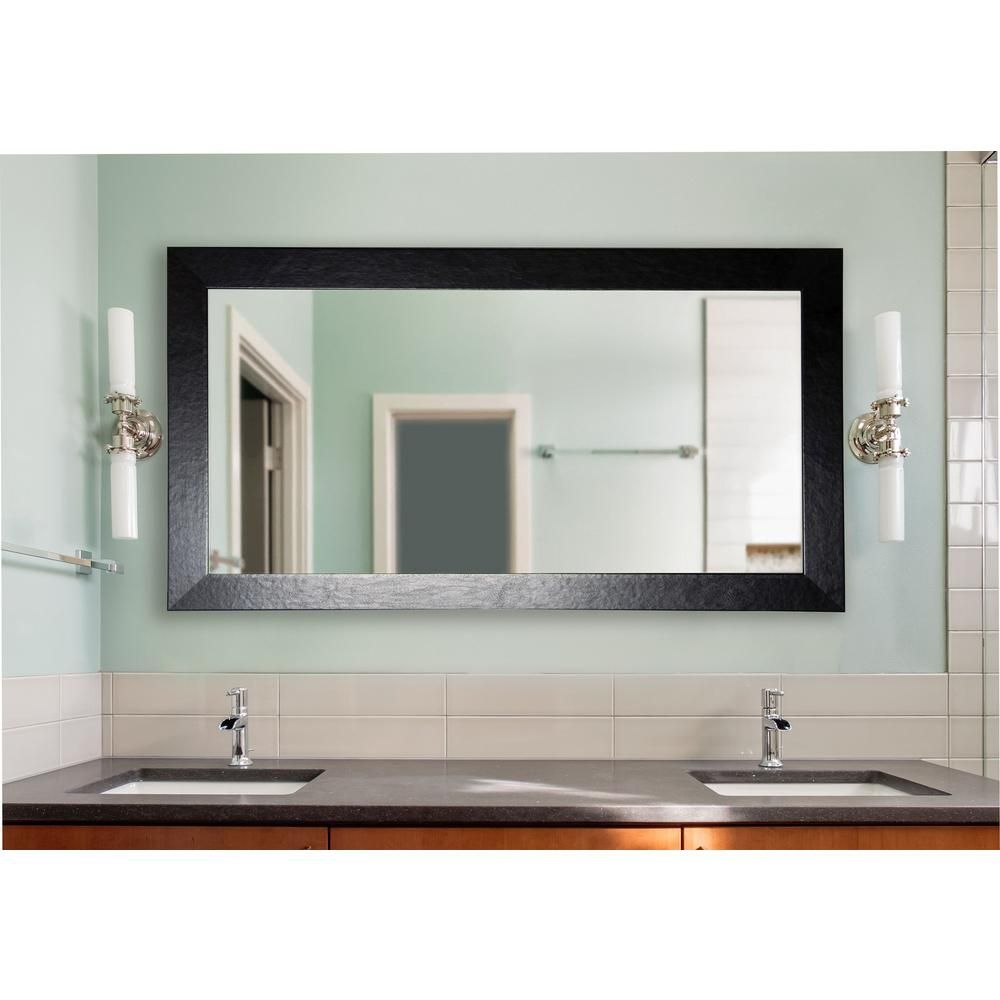 78 5 In X 39 5 In Black Wide Leather Double Vanity Mirror
