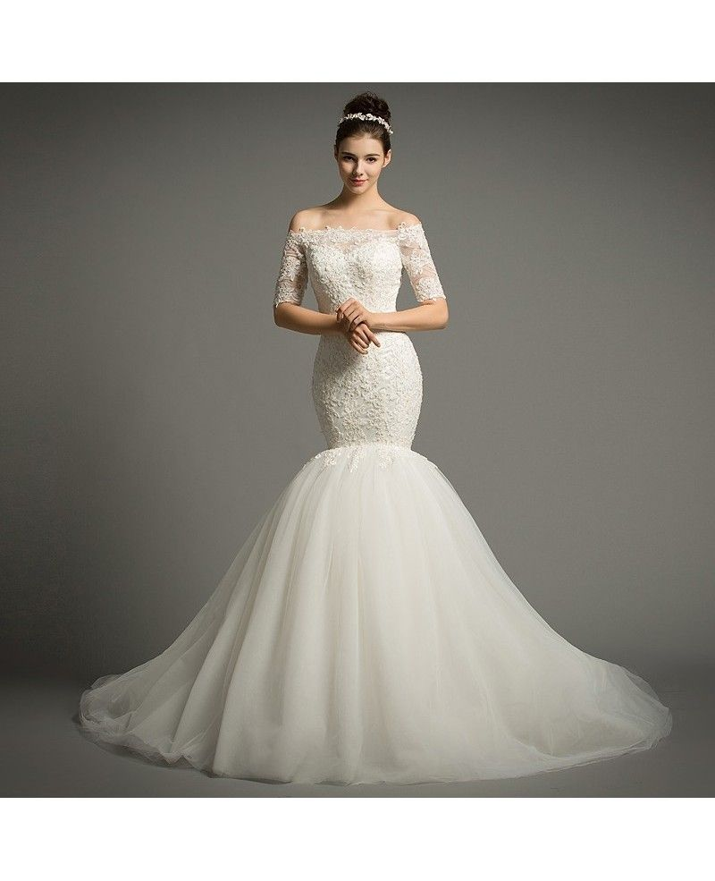 Dreamy mermaid offtheshoulder chapel train tulle wedding dress