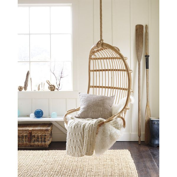 hanging rattan chair ($495) via polyvore featuring home, outdoors