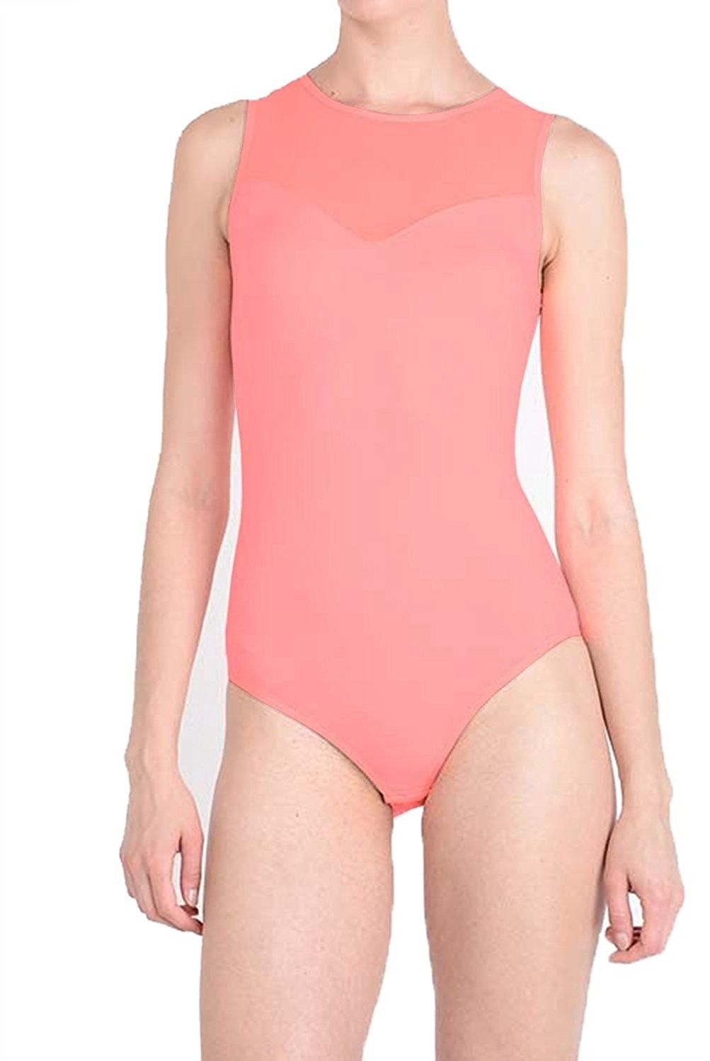 24716ccba13 Women's Clothing, Swimsuits & Cover Ups, One-Pieces, Tough Cookie's Women's Sleeveless  Mesh-back Sweetheart Leotard BodySuit - Neon Pink - C812GXTHZ65 ...