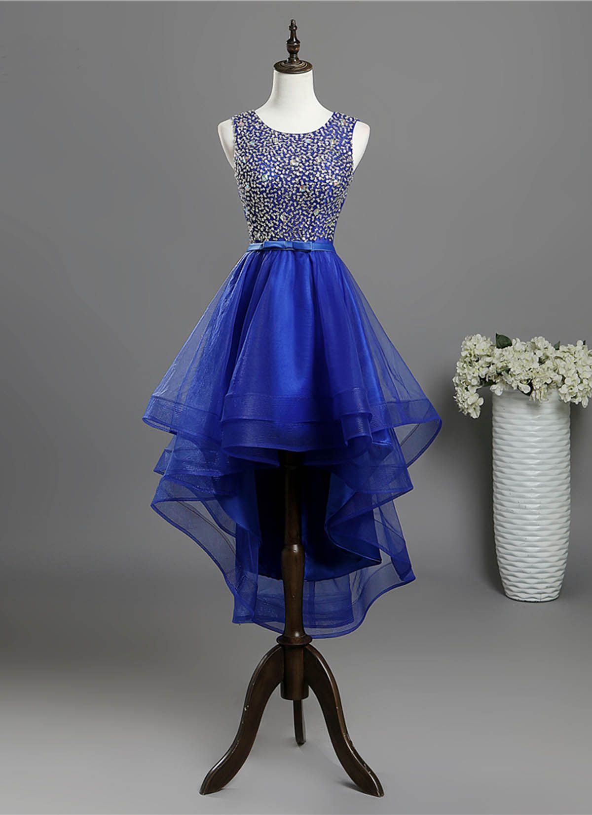 Royal blue tulle high low sequins prom dress homecoming dress