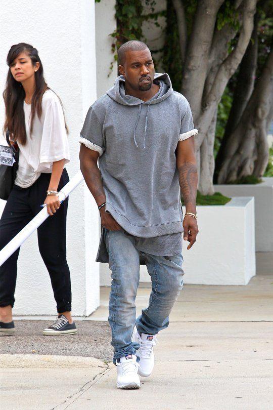 A P C Kanye Collaboration Shortsleeved Hooded Sweatshirt And Stonewashed Indigo Jeans Kanye West Style Kanye West Mens Clothing Styles