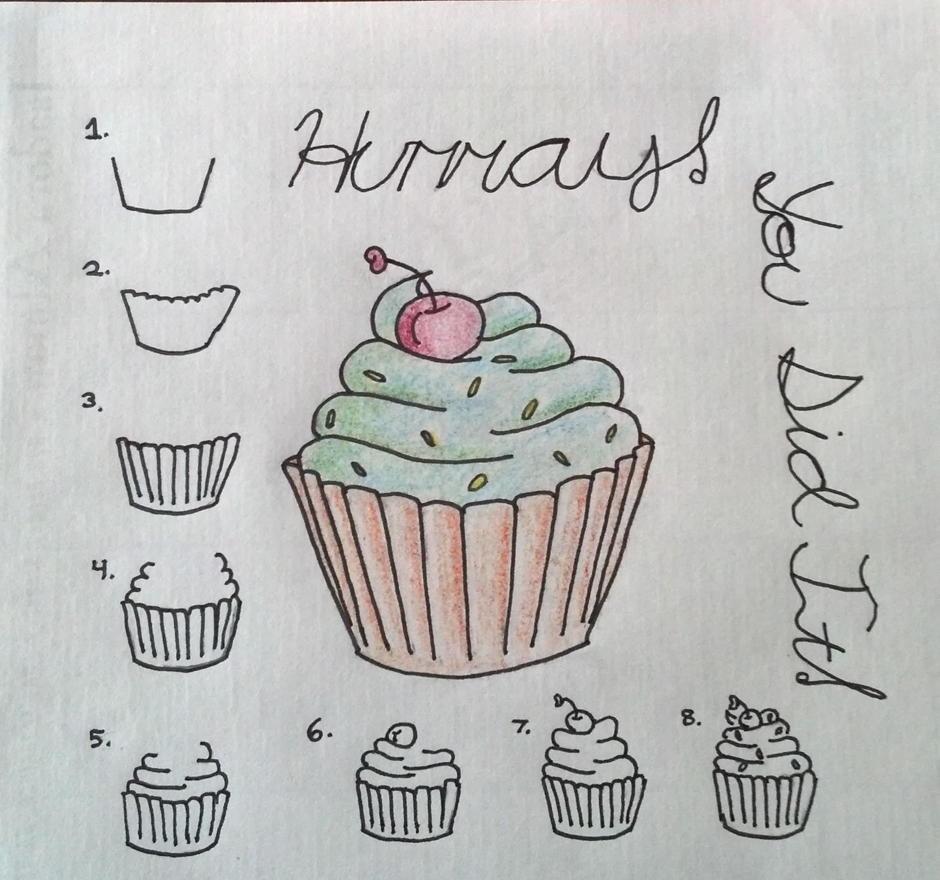 How to draw a cupcake a simple step by step colorful cupcake great to draw on cards or anything else fun to draw for all ages