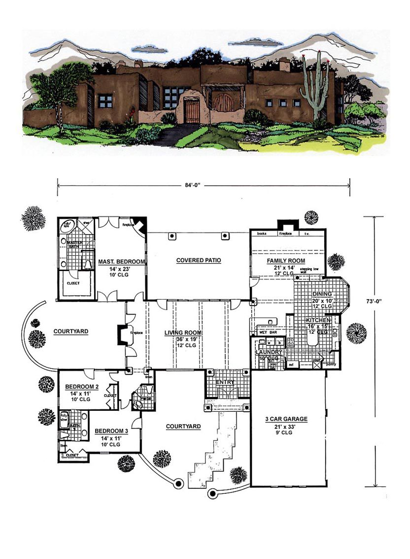 Southwest Style House Plan 54644 with 3 Bed, 3 Bath, 3 Car ...