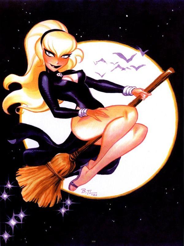 Открытка для, ведьма на метле картинки красивые блондинки