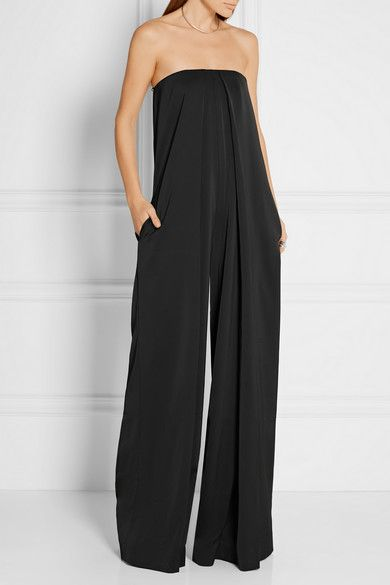 Black satin-crepe Concealed hook and zip fastening at back 97% polyester, 3  · Black Strapless JumpsuitBlack ...