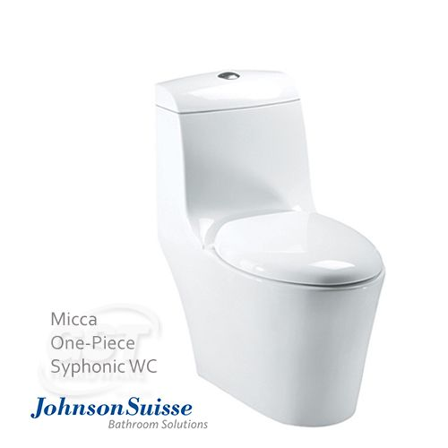 Johnson Suisse Micca Syphonic One-piece WC Rough in:BO285mm(S-Trap), Single Flush System,Soft-Closed Seat & Cover, Syphonic System,Diamention:740mm(L) x 385mm(W) x 790mm(H),One-Piece Design