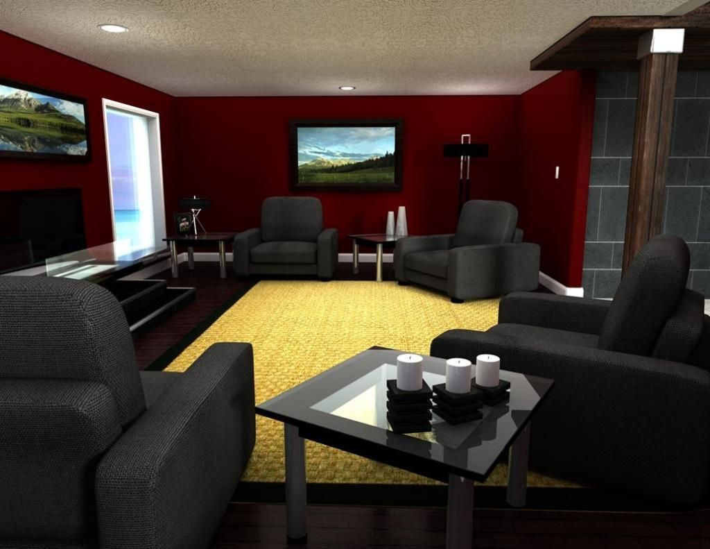 Dramatic Living Room Design With Office Chair Idea And Yellow Carpet ...