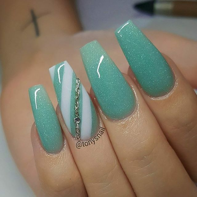 Coffin shaped nails with nude teal green and green white ...