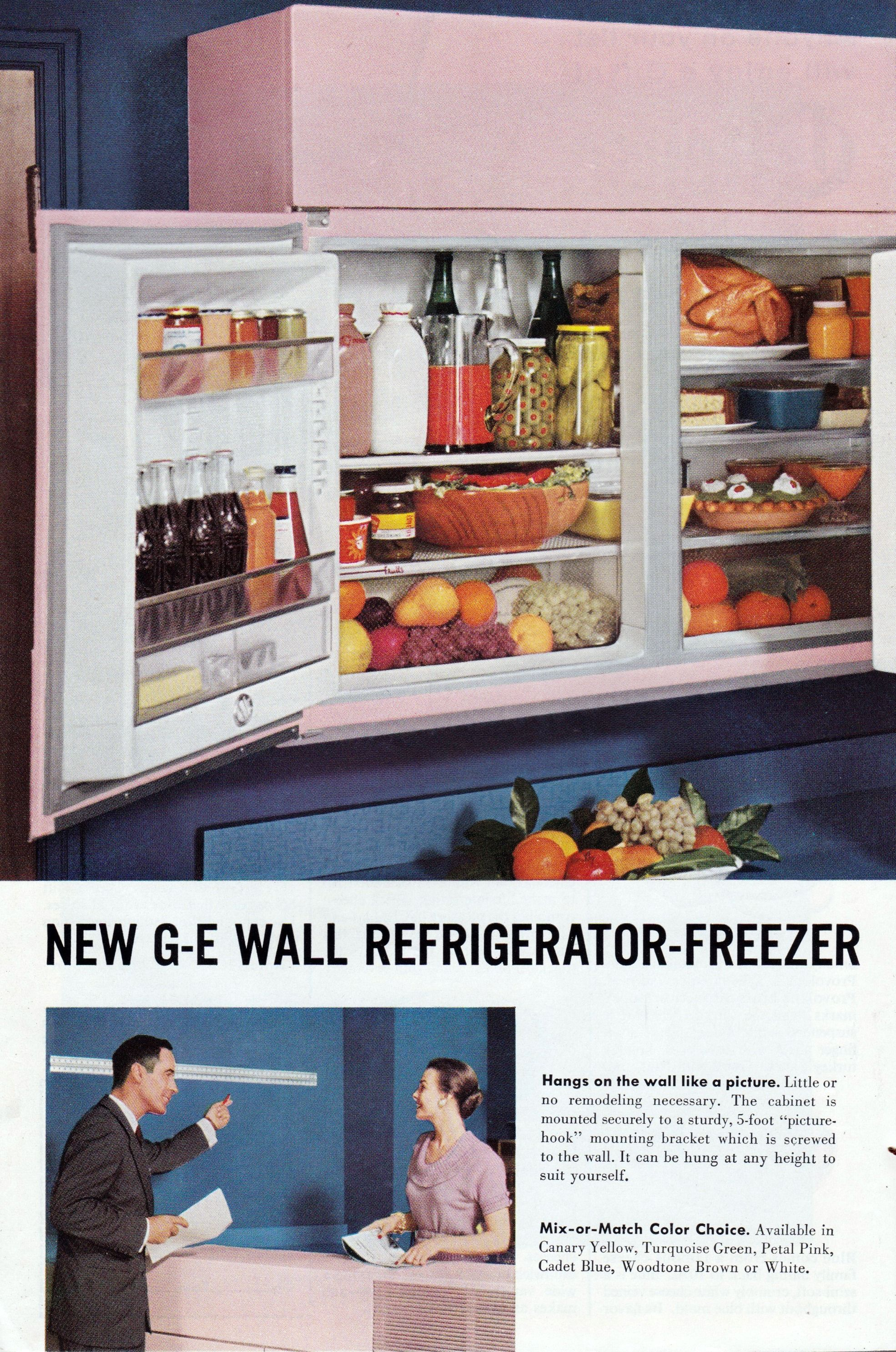 G E Wall Refrigerator 1950s Refrigerator Freezer General Electric Retro Kitchen