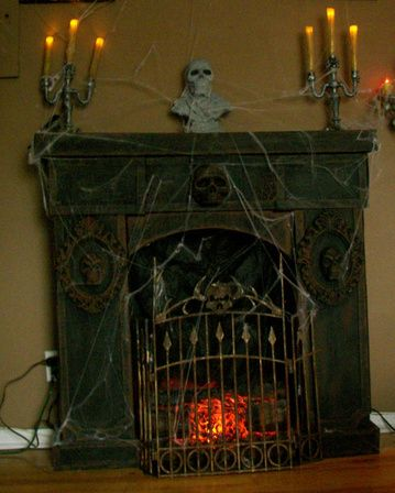 Cardboard fireplace with Dollar Store items . http://www ...
