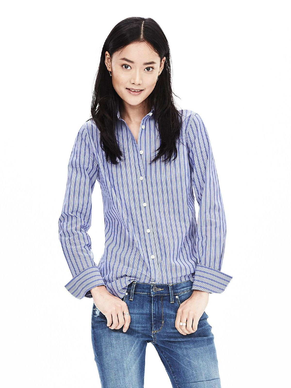 NWT Banana Republic Women's RileyFit Blue Stripe Shirt