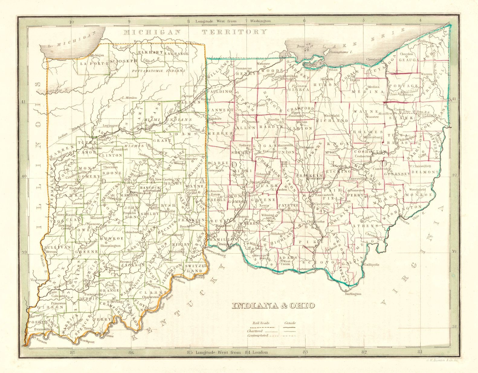 Rivers In Ohio Map.Indiana Ohio 1835 Bradford T G Map Detailing Counties County