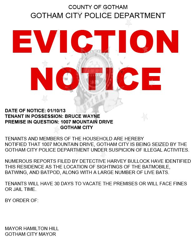 Printable Sample Notice Of Eviction Form  Real Estate Forms Word