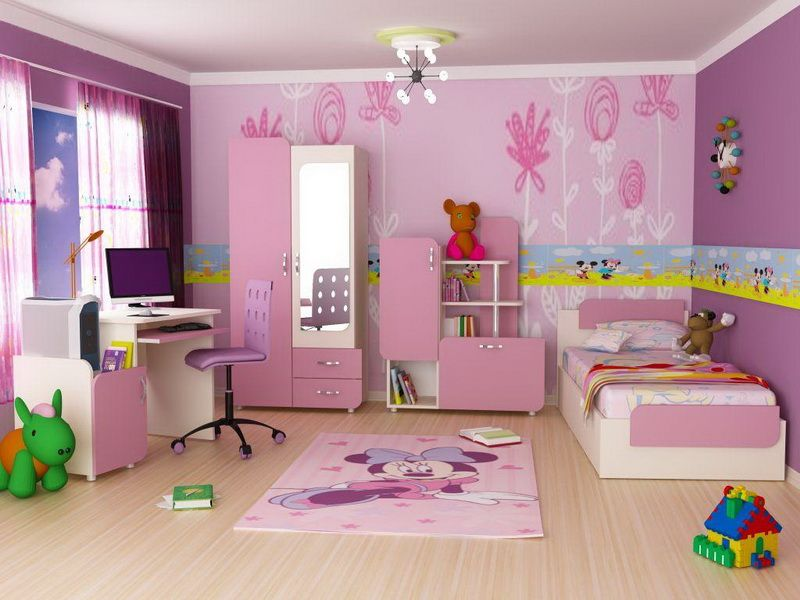 How To Decorate A Kids Bedroom With Pink Purple Wall Decor Furniture