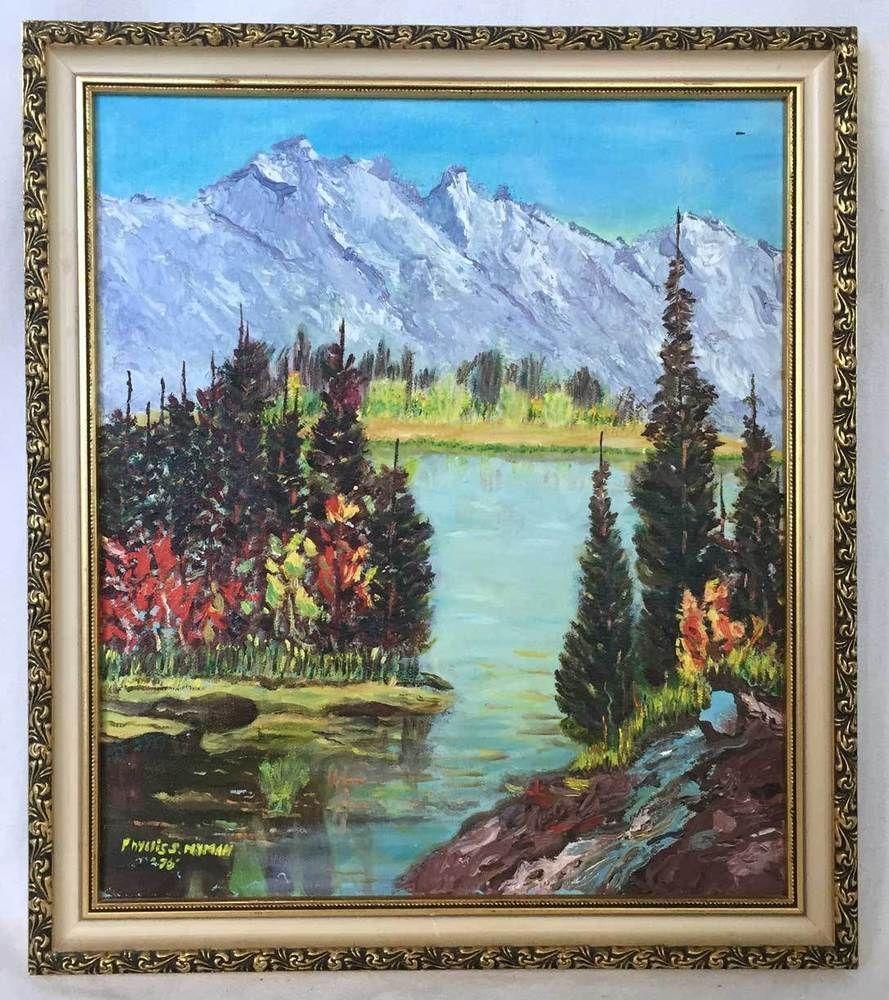 Western Folk Art Vintage Painting Flock White Snow Geese
