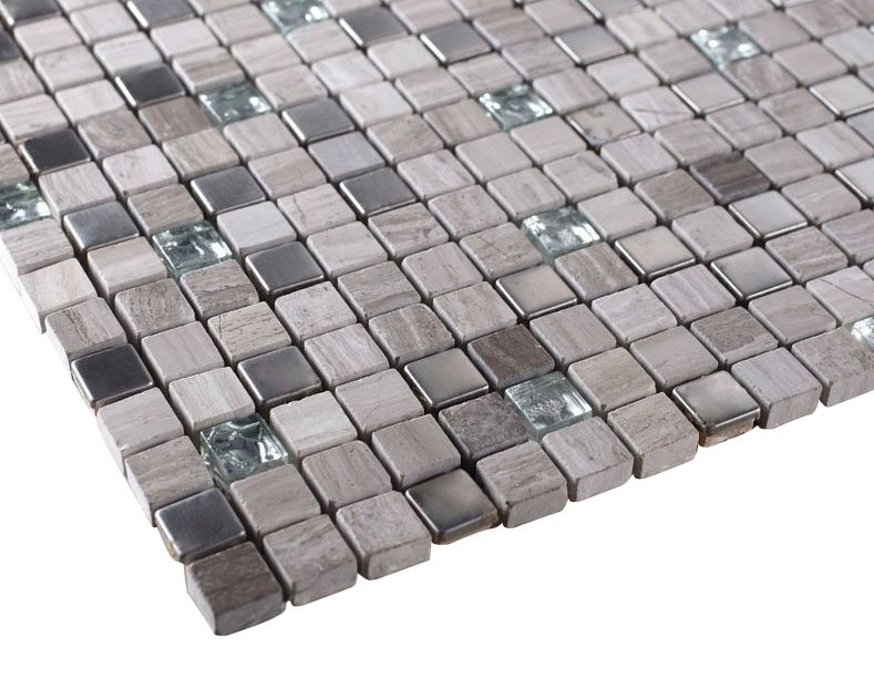 Light Grey Luxury Square Pebble Stone With Stainless Steel Mosaic Tiles Marble Mosaic Tiles Glass Tile Mosaic Tiles