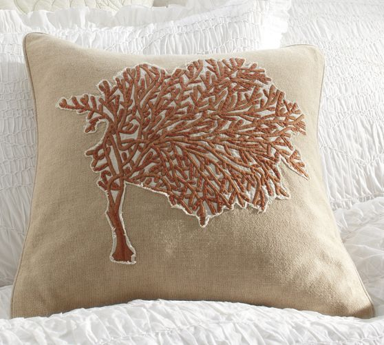 Coral Embroidered Pillow Cover | Pottery Barn