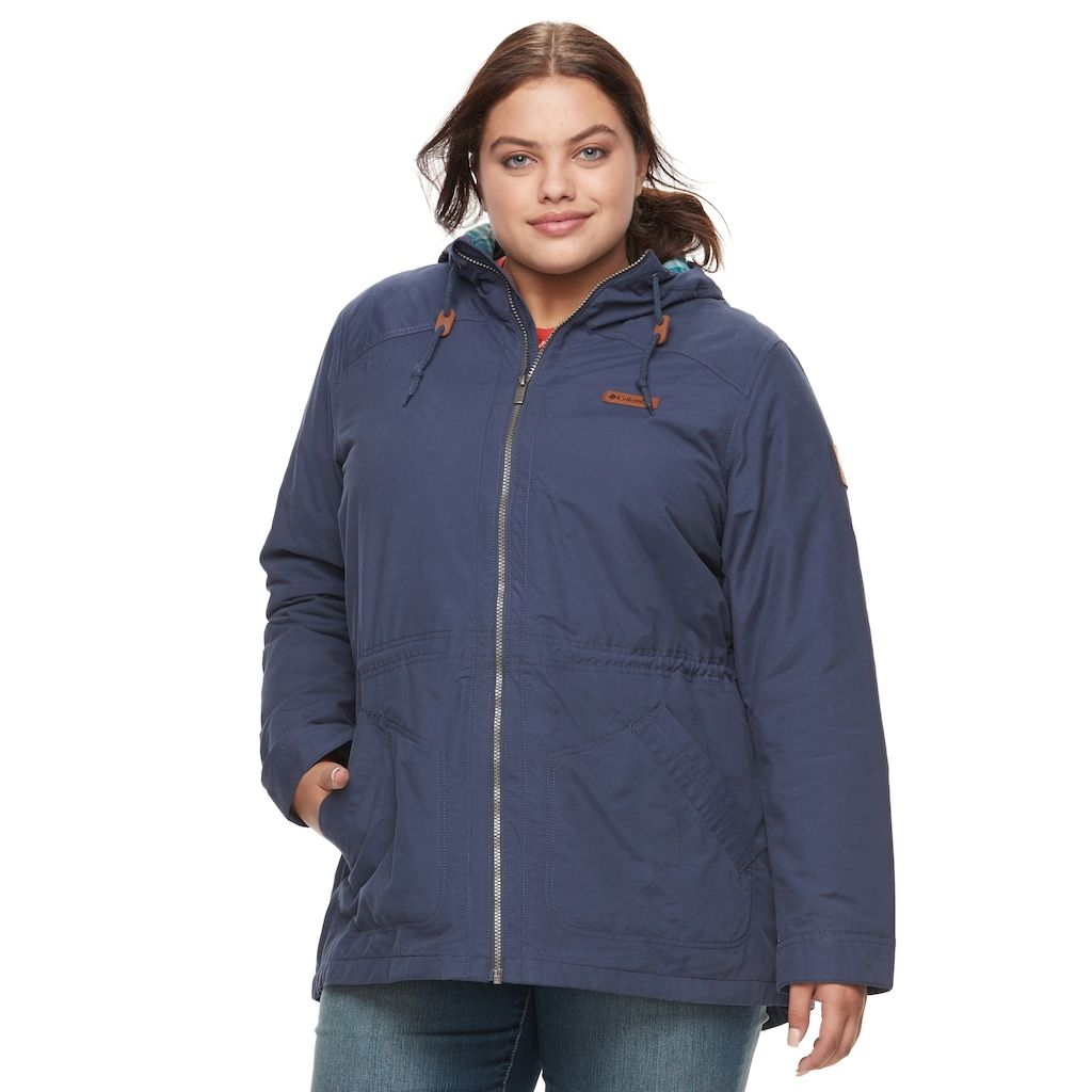 columbia plus size cedar grove flannel-lined rain jacket | rain