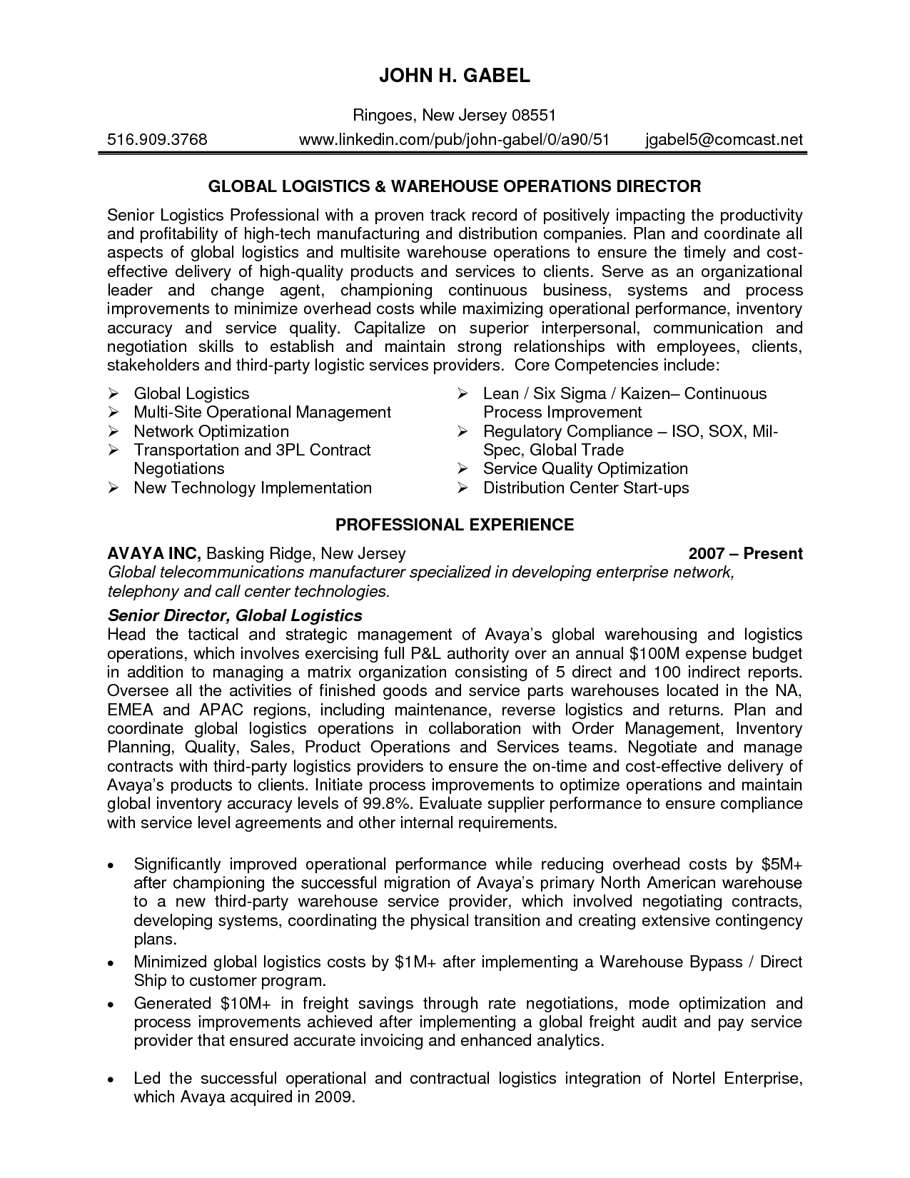 senior logistic management resume | Director Logistics in NJ PA ...