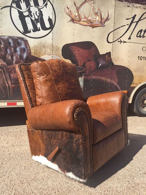 Leather And Cowhide Swivel Glider Recliner With Gator Embossed