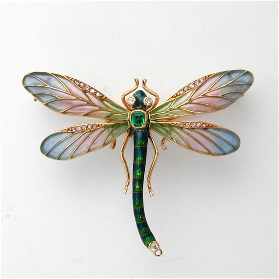 An Art Nouveau Enamel Emerald And Diamond Dragonfly Brooc