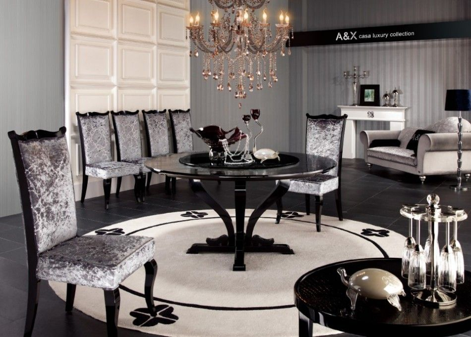 Chic Armani Xavira Round Crocodile Lacquer Table Furniture Lacquer Dining Table Dining Room Furniture Collections