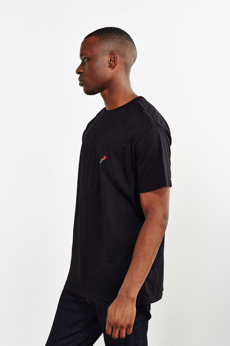 Urban Outfitters Embroidered Rose Tee Black Tees