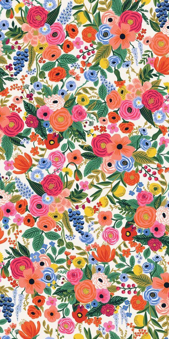 Wildwood Garden Party Pink Cotton Fabric Floral Fabric, pink flowers, Girl Fabric Flower Fabric RP10