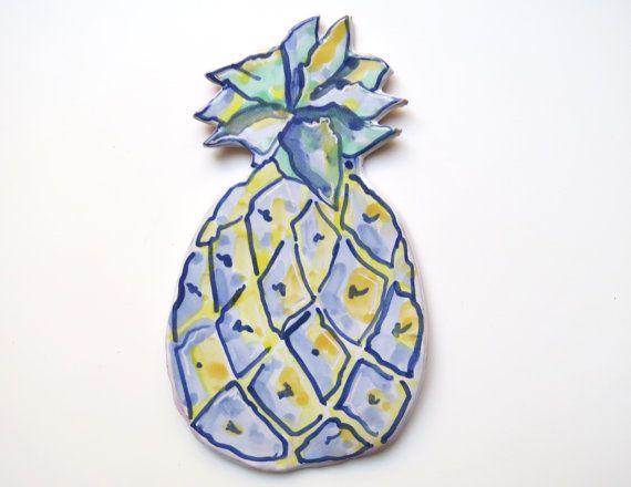 Ceramic Pineapple Spoon Rest Decorative Majolica by acosmicmermaid
