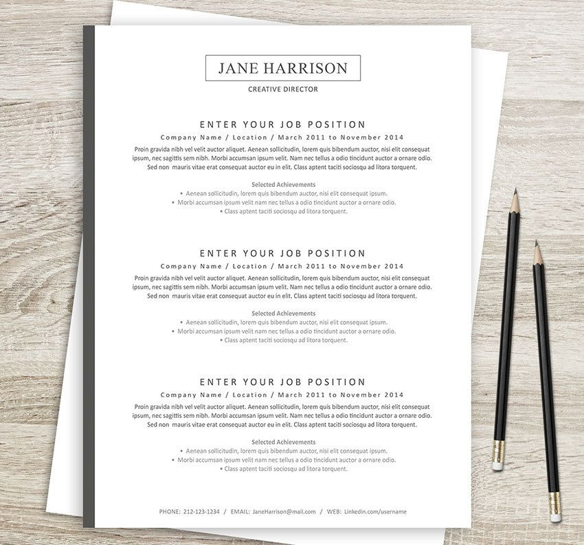 How To Do A Reference Page For A Resume Delectable Resume 4Pk  2 Page Resume Cover Letter And Reference Page  Etsy .