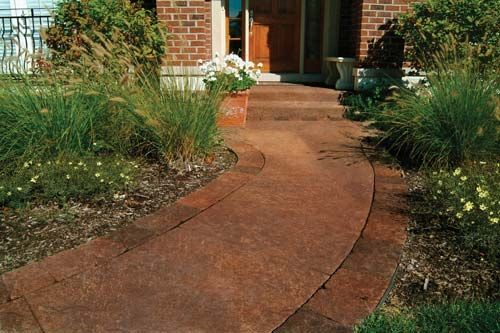 Transform Sidewalks With The Look Of Stone Shown In Vaquero Brown Paint By Valspar Solid Color Concrete Sealer