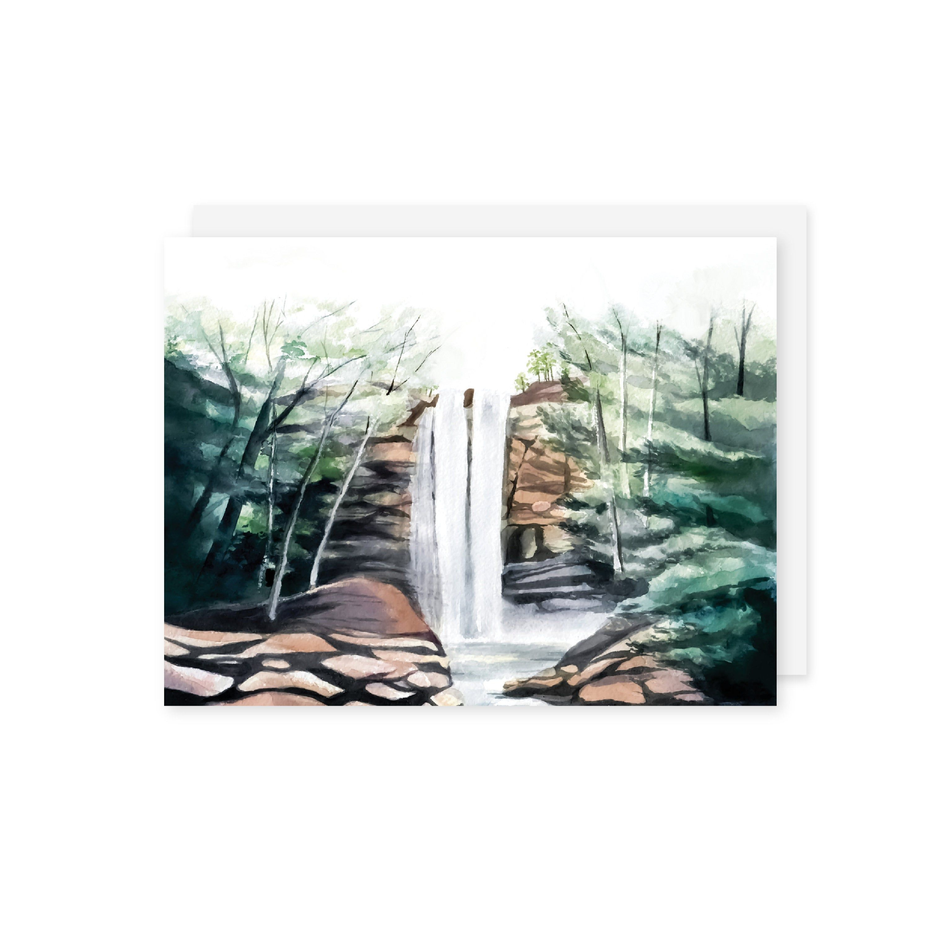 Set of 20 Blank Watercolor Waterfall Cards | A2 Size | Waterfall Greeting Cards | Blank Greeting Card Set | Thank You Card Set