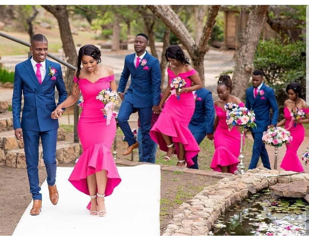 Image May Contain 4 People People Standing And Outdoor Fuschia Bridesmaid Dresses Wedding Dress Organza African Wedding Attire [ 846 x 1080 Pixel ]