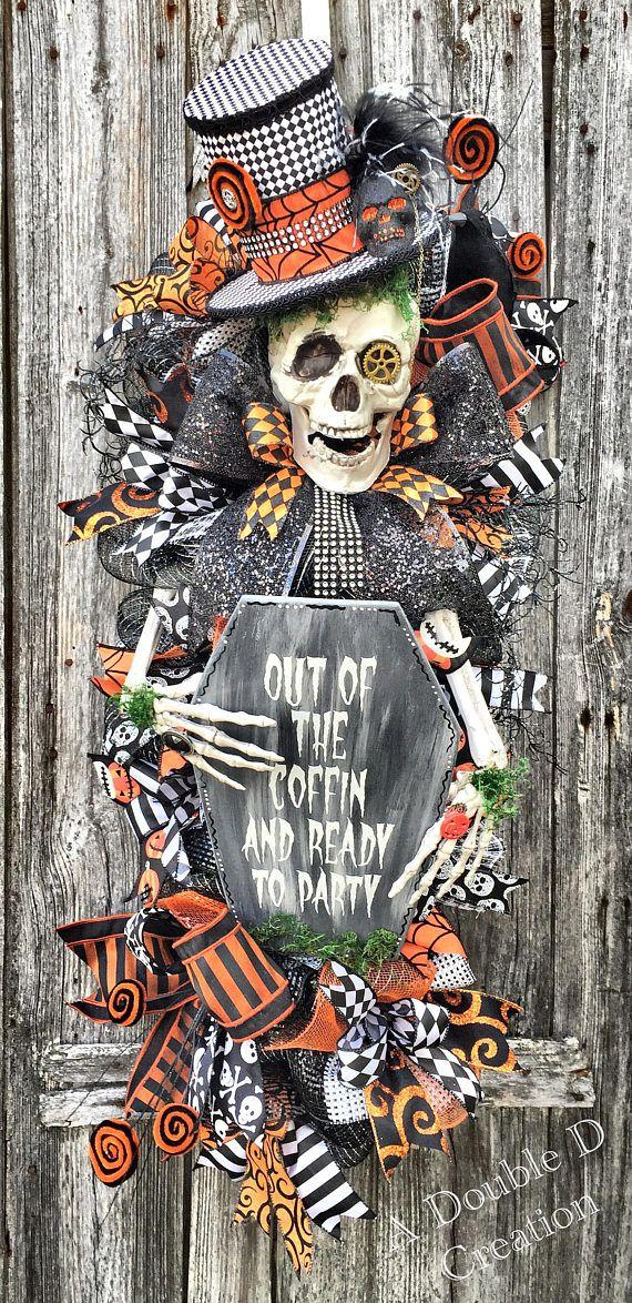 Skeleton Wreath Spooky Wreath Halloween Decor Skull Wreath