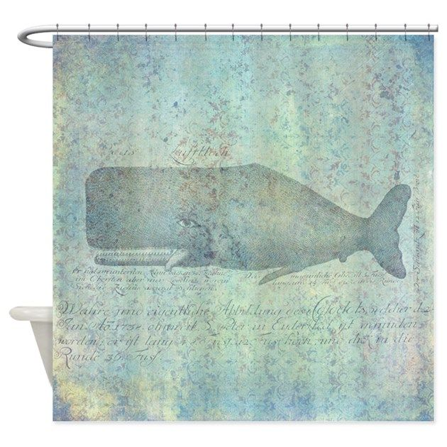 Vintage Whale Illustration Nautical Shower Curtain