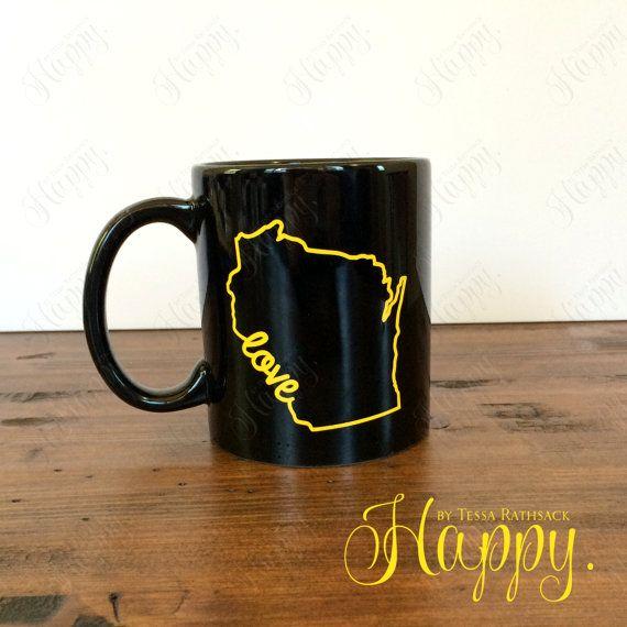 Wisconsin Mug, Wisconsin Pride Mug, State Mug, Wisconsin Outline, Mug, Wisconsin Love Mug, Wisconsin, Wisconsin Love, State Outline Mug, Wisconsin on a Mug, I Love Wisconsin by HappyTessa