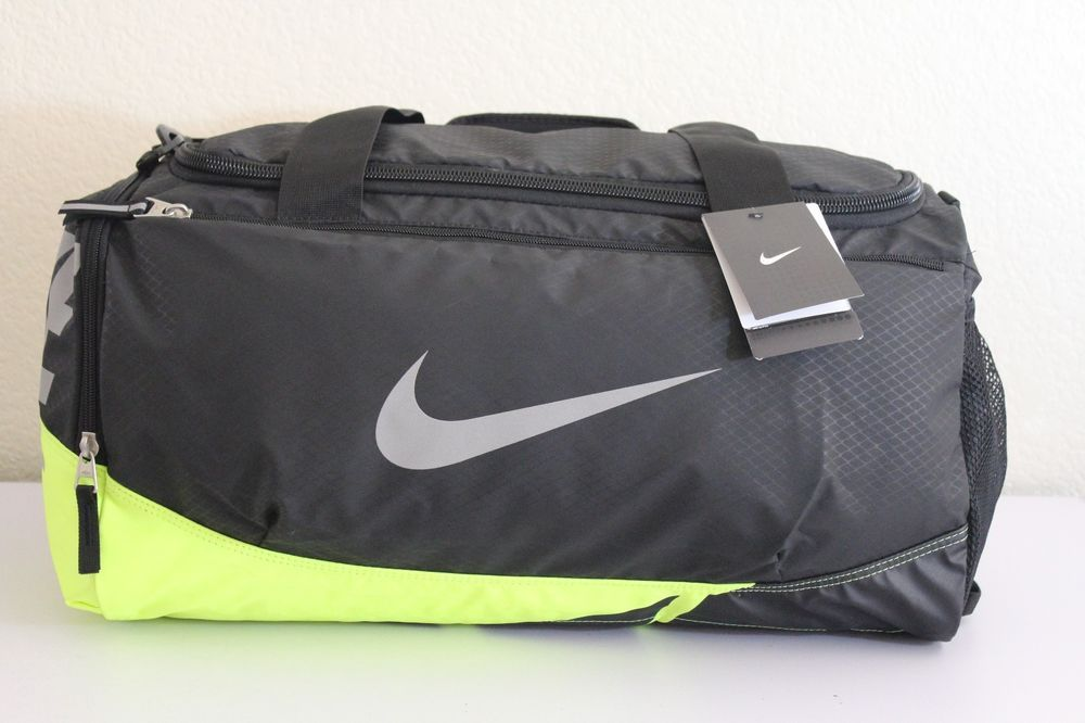 Nike Max Air Men duffel gym bag luggage Black Lime green 11.5