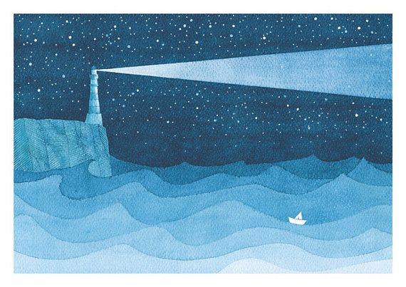 Watercolor painting lighthouse giclee print nautical by VApinx