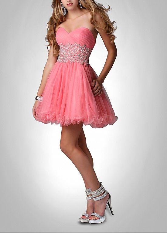Buy discount Cute Tulle & Satin A-line Strapless Sweetheart Neckline ...