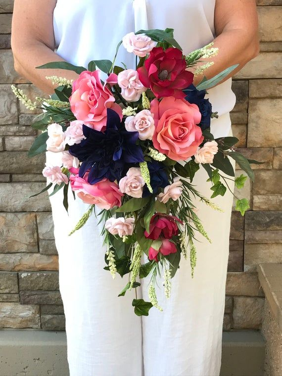 Navy Mauve Blush Extra Large Cascading Bridal Bouquet-Navy Burgundy Silk Bouquet-Magnolias-Dahlias-Burgundy Navy Wedding-Cascading Roses #silkbridalbouquet