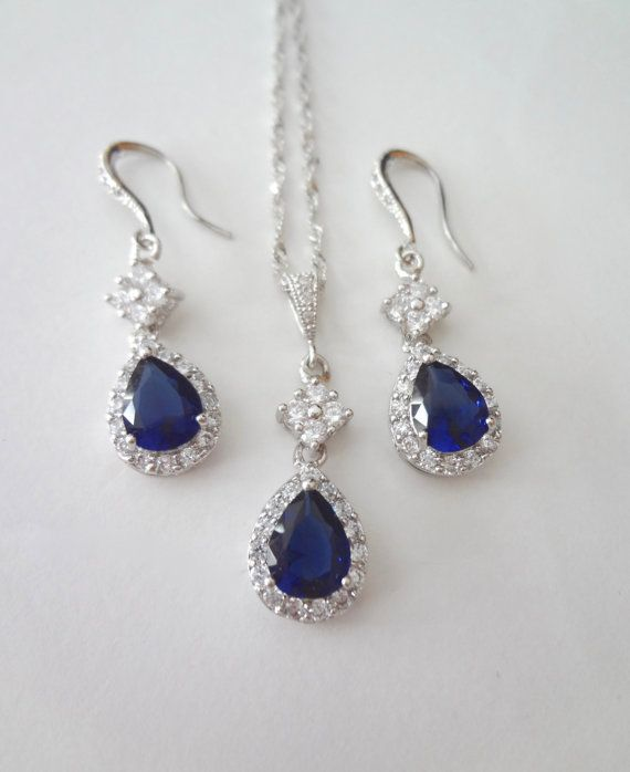 Sapphire jewelry set Bridal jewelry set Something blue Wedding