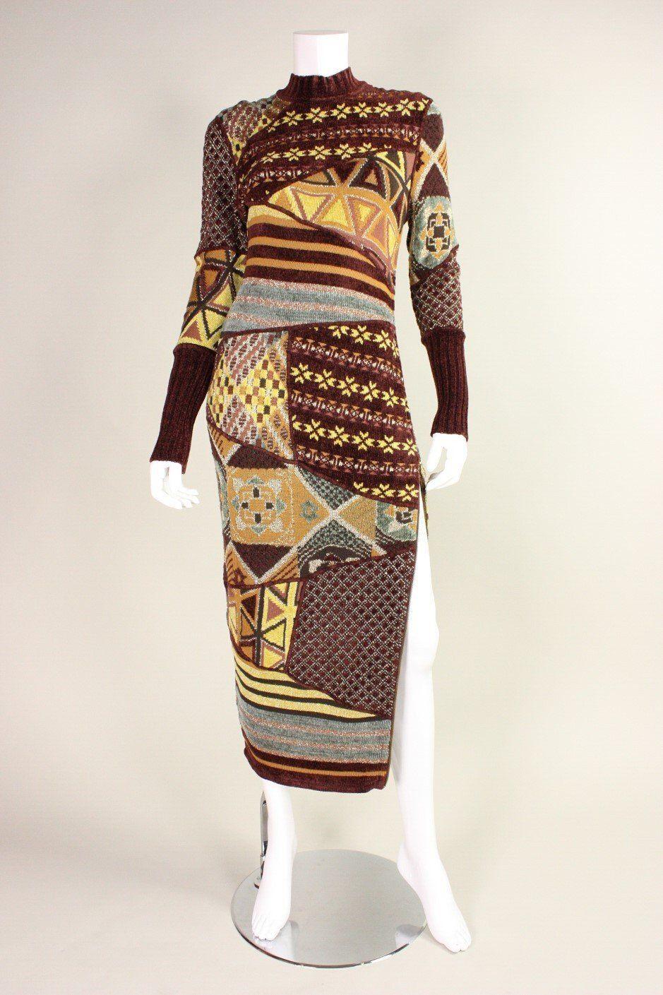 1990's Christian Lacroix Patchwork Knit Gown