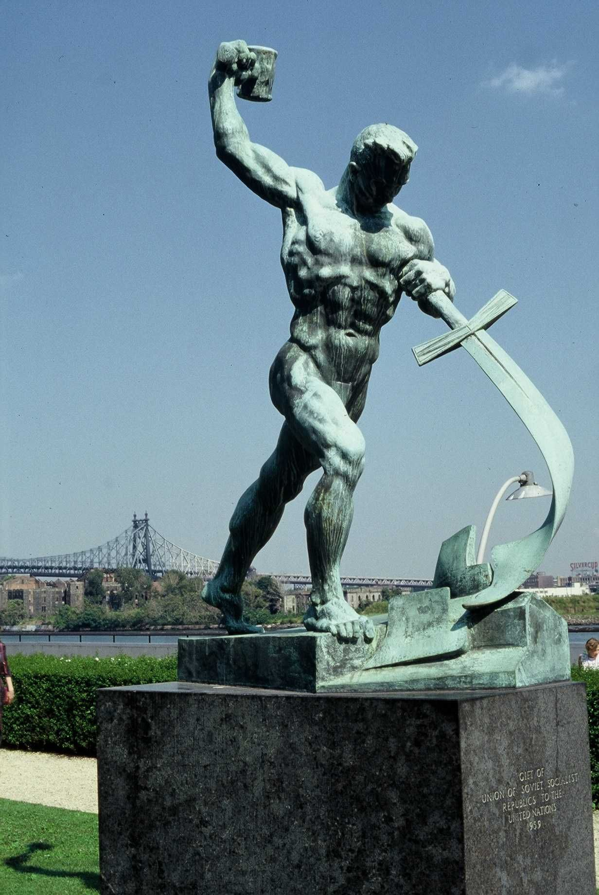 Image result for un swords into plowshares statue