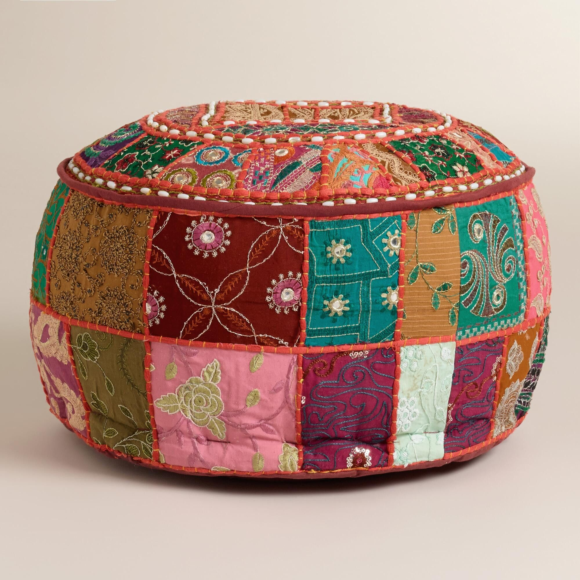 shipping poof ottoman garden pouf product overstock ribbon free home brilliant today cotton