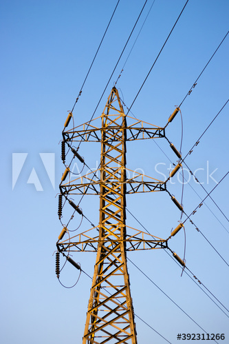 High Voltage Power Lines Under The Blue Sunny Sky Image Brick Patterns Stock Images
