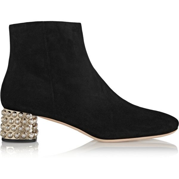 Miu Miu Suede Crystal Ankle Boots