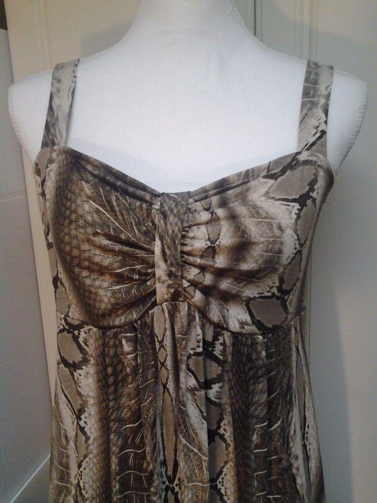 R&M Richards White Brown Snakeskin Sleeveless  Print Vintage Dress Sz 12 #RMRichards #EmpireWaist