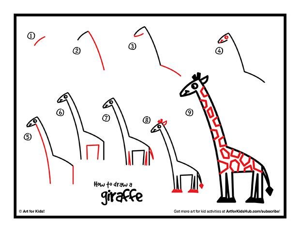 How To Draw A Giraffe Art For Kids Hub Easy Giraffe Drawing